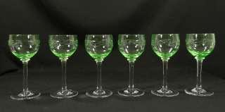 ANTIQUE ART DECO BOHEMIAN CUT VASELINE GLASS WINE GOBLET STEM CUP