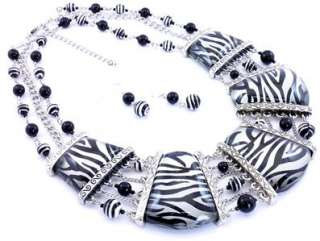 BLACK SILVER WHITE ZEBRA ANIMAL PRINT GRADUAL NECKLACE EARRING