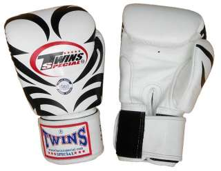 Twins Muay Thai Boxing gloves ~ 16 oz ~ Tattoo   White