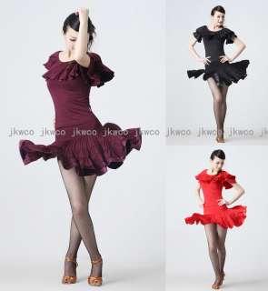 New woman latin ballroom dance dress top + skirt set salsa chacha