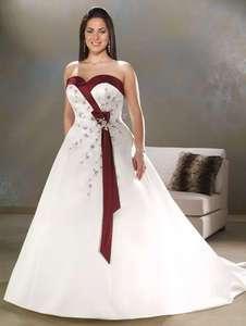 Stock White/Red Satin Wedding Dress Size 10 12 14 16 18 20 22 24 26 or