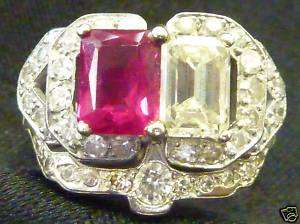 WHITE GOLD DIAMOND AND RUBY WEDDING SET ELEGANTLY MADE MUST C