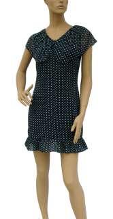 BL729 NAVY BLUE POLKA DOT CAPELET DRESS SIZE XL