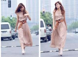 Chiffon Belted Summer Polka Dot Sun Beach Boho Maxi Long Dress Z13