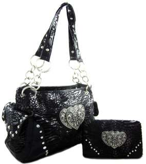 Zebra Leopard Print Triple Heart Purse Handbag Wallet SET Black