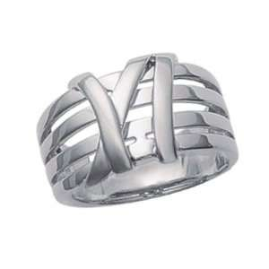 Ladies Sterling Silver Modern Lace Knot Band Ring Jewelry