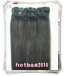 20 6pcs 100% Real HUMAN HAIR CLIP IN EXTENSION #1b,30g/set