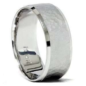 Hammered Beveled Wedding Band 14K White Gold Jewelry