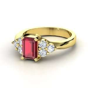 Apex Ring, Emerald Cut Ruby 14K Yellow Gold Ring with