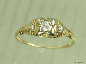 YELLOW GOLD & GENUINE WHITE OLD EUROPEAN CUT DIAMOND ENGAGEMENT RING