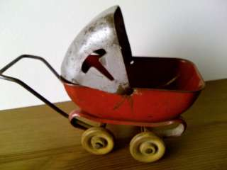 1930s Metal Toy Baby Carriage w/ Wooden Wheels Made in USA |