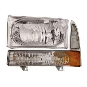 99 04 Ford Super Duty Chrome Headlights /w Amber Corner