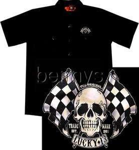 NEW Skull Flags Hot Rod Car Work Shirt, Lucky 13, L