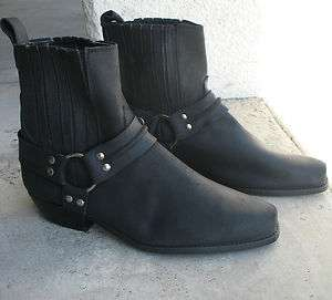 Black Leather Harness Motorcycle Ankle Boot Vintage Loredano NEW