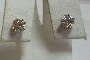 ESTATE 14K White Gold European Cut Diamond Earrings