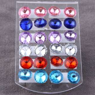 wholesale lot 24 pairs clear crystal earring stud 1 box allergy free