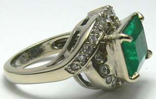 20tcw Art Deco Emerald Cut Colombian Emerald & Dimaond Ring