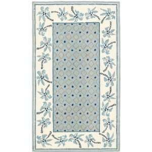 by 4 Feet Hand hookedWool Area Runner, Blue and Ivory