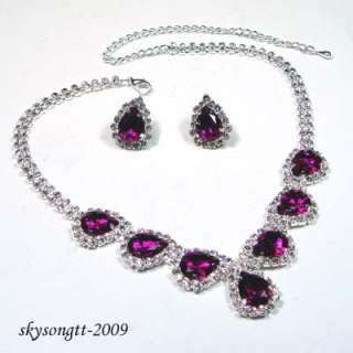 Swarovski Purple Rhinestone Crystal Bridal Pendant Necklace Earrings