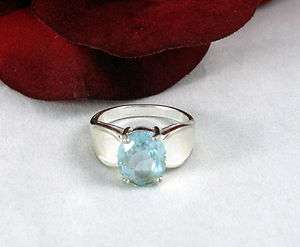 Sterling Silver Baby Blue Sparkling Ring 6.75 CAT RESCUE