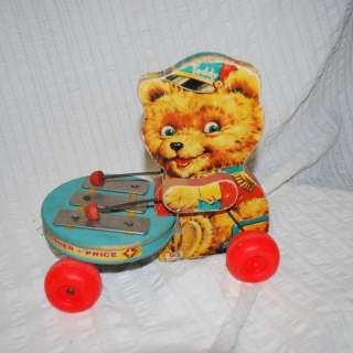 VINTAGE FISHER PRICE golden brown Teddy Bear ZILO PULL TOY WORKS