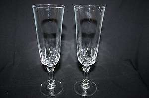 Crystal Champagne Flute Pair, Cut Glass   Please Contribute!