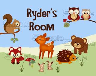 print personalized woodland animals boys nursery room art