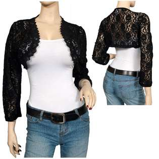 Plus Size Black Long Sleeve Lace Cropped Bolero Shrug  eVogues Apparel