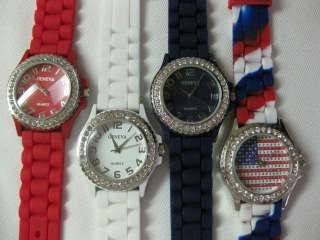 NAVY BLUE or FLAG LARGE DIAL Ladies Geneva Silicone Jelly Watch