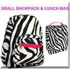 Moda 1 Zebra Backpack Matching Lunch Bag Set Small
