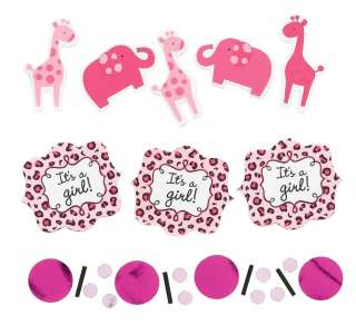 Pink Girl Baby Shower Confetti elephant giraffe 013051360177