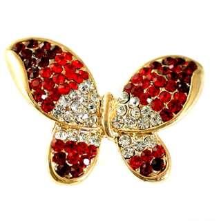 Big Butterfly 18K GP Gold Plated Gemstone Zirconia CZ Adjustable Ring