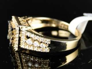 LADIES YELLOW GOLD CHOCOLATE PRINCESS CUT DIAMOND ENGAGEMENT BAND RING