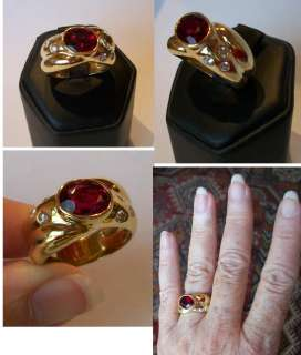 ESTATE18k 3+ct Rubellite Tourmaline & Diamond Ring