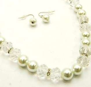 White Pearl with Gold Faceted Crystal Glass Necklace Set & Earring Set