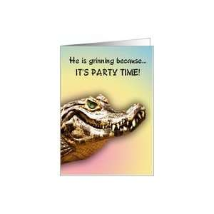 13 Party Invitiation. A big alligator smile for you Card