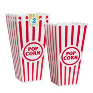 4x Reusable Plastic Popcorn Containers
