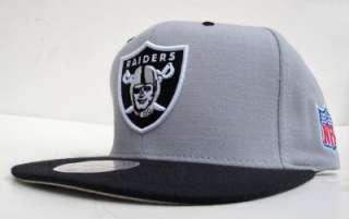 Oakland Raiders Team Logo Grey On Black Snap Back Cap Hat By Mitchell