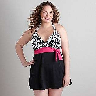 Plus Animal Print Swim Dress  Jaclyn Smith Clothing Womens Plus