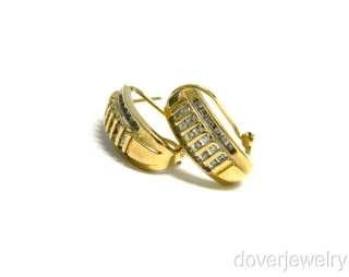 Estate 0.70ct Diamond 10K Gold Hoop Earrings NR