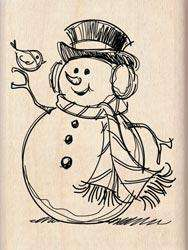 Wood Mounted RUBBER STAMP ~ SNOWMAN & FRIEND