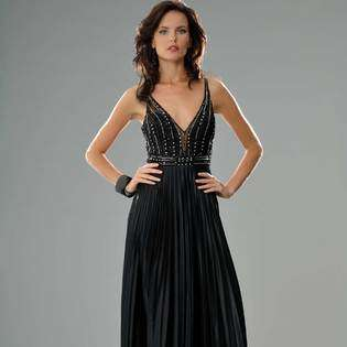 Dress. Womens Long Evening Gown. Beaded Prom Dress. Black Cocktail