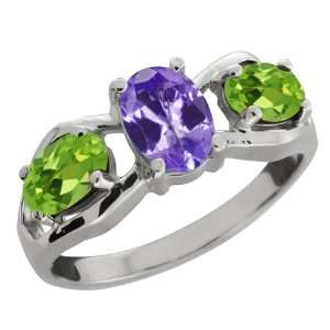 Ct Oval Blue Tanzanite and Green Peridot 14k White Gold Ring Jewelry
