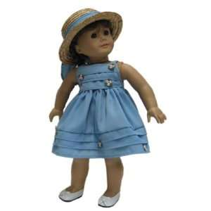 Girl Doll Clothes Slate Blue Dress with Wicker Hat Toys & Games