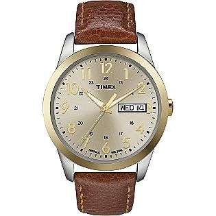 Mens Classic Dress Watch with Leather Strap and Day/Date Feature