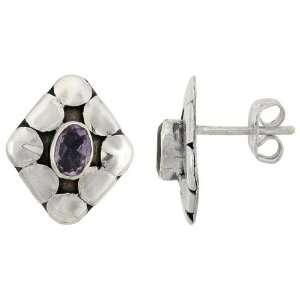 Sterling Silver Oxidized Diamond shaped Earrings, w/ Oval Cut 6 x 4 mm