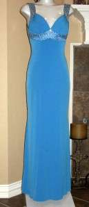 CACHE Royal Peacock Blue Silver Bead Strap Long Sexy Gown Sz 2
