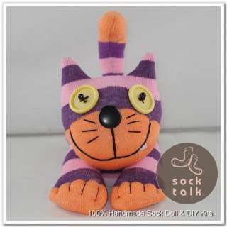 Handmade Sock Monkey Purple Striped Cheshire Cat Stuffed Animals Toy