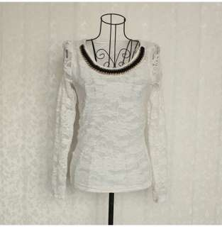 Fashion Long Puff Sleeve Lace Casual Bottoming Shirt Tops Blouses T