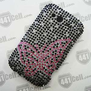 Metro PCS HTC Wildfire S Pink Butterfly Full Diamond Case +Screen